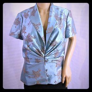 J. Howard mother bride silky teal jacket blouse 10